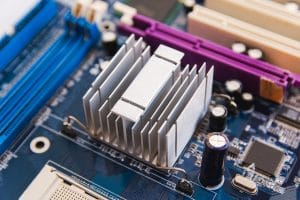 Close up chipset heatsink aluminium on motherboard