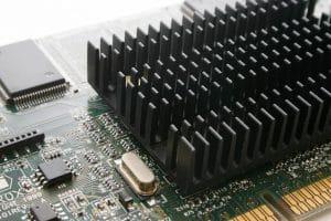Computer video card with heatsink.