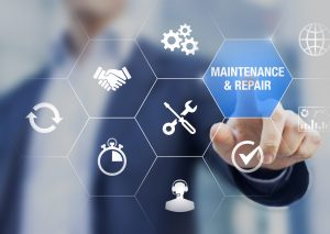 Maintenance and repair concept with icons about assistance and servicing of equipments, person touching symbols