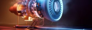 Futuristic jet engine technology background. Engineering and technology 3D illustration.