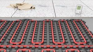 Underfloor heating on fixing mat, 3d illustration